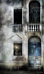 waiting for you . . . (YvonneRaulston) Tags: venice italy italian europe sony atmospheric art creativeartphotography dream man person door window light old dusk emotive fineartgrunge glow photoshopartistry lamp moody moments night street texture