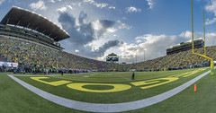 Autzen Stadium panorama (acase1968) Tags: 10photo photomerge eugene oregon ducks university washington state autzen stadium football nikon d500 tokina 1120mm f28 skywatch clouds goal posts pac12 conference ncaa college yellow green blue