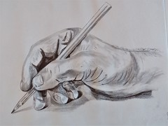 The Hand (rachael242) Tags: hand sketch draw drawing pencil ink paper art fingers illustrate illustration shadow light inktober inktober2017