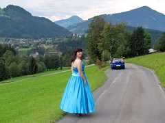 Join me (Paula Satijn) Tags: lady girl dress gown skirt blue car austria mountain road seat leon satin silk shiny elegant classy outside mountains pretty lovely happy smile