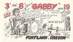 The Viking: Gabby - Portland, Oregon (73sand88s by Cardboard America) Tags: vintage qsl qslcard cbradio cb theviking dirty oregon