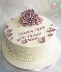Flowers & Lace 90th Cake