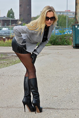 Comtesse Monique 15 (The Booted Cat) Tags: comtesse monique sexy long blonde hair model milf mistress leather miniskirt nylon nylons pantyhose boots heels highheels gloves