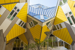 Rotterdam, The Netherlands -May 11, 2017: Modern Buildings City Architecture Design Elements Known as Cubic Houses Designed by Piet Blom in Rotterdam City Center in May 11, 2017 in Rotterdam, The Netherlands. (DmitryMorgan) Tags: gollandia gollandiya holland pietblom abstract appartment architecture art blom blue building business city cityscape concept construction cube cubichouses daylight design dutch editorial european exterior façade hotel kubuswoningen landmark living niderlandy perspective piet residential rotterdam sight structure thenetherlands tourism travellocations urban yellowcolor