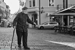 Baden Baden Street Mann 225 b&w