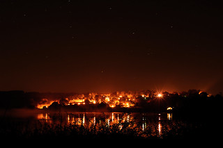 The lights of Barnsdale over Rutland water