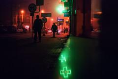 Action (ewitsoe) Tags: fog morning night nikon ewitsoe poznan street city lookslikeahorrormoview color neon signs urban peoplewalking goingtowork cinematic movie film jezyce cityscape autumn fall sidewalk crosses stores woman man walking