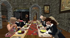 Diary page 26 - Soup (cadeSL) Tags: soup school church abbey dining room table cutlery bowls children pupils students boys girls uniform food eating lesson pictures stone wood chat talk relax st saint columba catholic boarding rp roleplay sl secondlife second life
