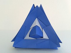Trapped cube (ISO_rigami) Tags: modular origami sonobe a4 rectangular 3d