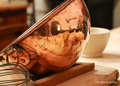 Copper Bowl (ChristineGibbs) Tags: canon eos eos6 kitchen nationaltrust lanhydrock cornwall implemnts tools reflections copper reflection kitchentools kitchenimplements cooking whisk bowl copperbowl eggs wooden working worktop baking canon24105mm nationaltrustlanhydrock southwest