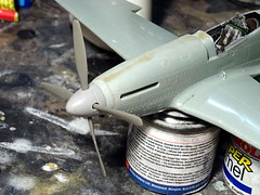 1:72 North American P-51D 'Mustang', Clay Lacy's Air Racer N64CL (44-74423) 'Miss Van Nuys'; Van Nuys Airport, California, early Seventies (modified Academy kit) - WiP (dizzyfugu) Tags: 172 north american p51d mustang reno air racer model kit modellbau flying papa decal van nuys airport 1970 winner fs17142 osha security purple ral 4003 erikaviolett dizzyfugu clay lacy aviation snoopy figure plush toy academy uncuffed propeller