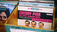 """Cherry Pink And Apple Blossom White"" (Eric Flexyourhead) Tags: langley fortlangley canada britishcolumbia bc mavisavenue villageantiquesmall shop store antique antiques lp vinyl album record jacket sleeve old weathered worn patina jerrymuradsfabulousharmonicats cherrypinkandappleblossomwhite columbiarecords stereo 1960 crate box wood wooden shallowdepthoffield sonyalphaa7 zeisssonnartfe55mmf18za zeiss 55mmf18"