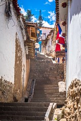 Narrow steep streets in Cusco.