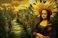 Mona Takes a Marsh Walk (Rusty Russ) Tags: mona lisa marsh walk reeds hat boardwalk sky picture sunglasses colorful day digital window flickr country bright happy colour eos scenic america world sunset beach water red nature blue white tree green art light sun cloud park landscape summer city yellow people old new photoshop google bing yahoo stumbleupon getty national geographic creative composite manipulation hue pinterest blog twitter comons wiki pixel artistic topaz filter on1 sunshine
