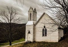 Wolf Creek Methodist Church_Fall (Bob G. Bell) Tags: wolfcreekmethodistchurch wolfcreek westvirginia monroecounty abandoned abandonedchurch bobbellxpro1 fujifilm sinksgrove weather fall clouds