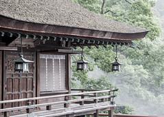 Lanterns in the Mist (campra) Tags: japan shikoku kotohira 四国 琴平 金比羅山 temple shinto shrine mist mountain thatched roof balcony