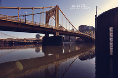 River Level Low (Hi-Fi Fotos) Tags: pittsburgh sisterbridges downtown yellow bridge water level measure flood stage chart allegheny steel city urban reflection tokina 1120 wide nikon d5000 dx hififotos hallewell