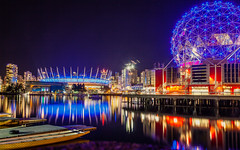 Reflecting At Night (michaelnugent) Tags: canon eos 5d mark ii ef 24 105 mm l lens creekside park parc telus science world bc place false creek vancouver british columbia explore travel canada nighttime portrait landscape scenery light reflections dragon boat sky water night building