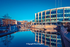 Barclaycard Arena (atomikkingdom) Tags: street water pavement center waterways boats walk town light tunnel birmingham canal narrowboat apartment blue uk cloud centre cars sky bright ideas accommodation happy moored