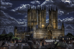Lincoln Cathedral night (Darwinsgift) Tags: nikon d810 hdr voigtlander 58mm f14 nokton photoshop night manipulation lincoln cathedral city rooftops