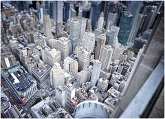 Don't Watch if You Are Scared of Heights! (Steve Lundqvist) Tags: new york usa states united america manhattan stati uniti travel trip viaggio bw urban city urbanscape ny nyc monochrome nikon downtown building landscape panorama view point monocromo architecture cityscape top empire overlook structure pattern big apple skyscraper grattacielo architettura città edificio strada tilt shift height heigh bokeh lego effect 3d anxious deep roof