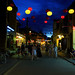 Walking in UNESCO ancient town during blue hour.