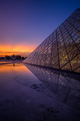 Louvre Pyramid Reflection Part Two (IzTheViz) Tags: reflection sunset pyramid louvre paris ilce7r a7r sonya7r