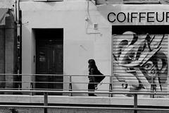 Walk line (ZUHMHA) Tags: marseille france monochrome ville urbain urban town people personne gens humain human line ligne courbe curve road letter lettre word mot tag graf draw sign fence barrière porte door façade mur wall personnes girl woman femme ombre lumière light shadow sun soleil et street rue panneau