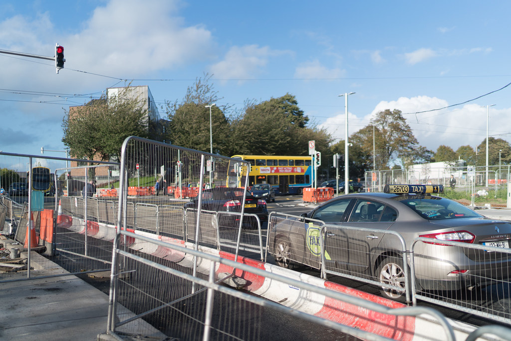 CONSTRUCTION STILL UNDERWAY AT THE BROADSTONE TRAM STOP [THE SCENE IS SOMEWHAT COMPLICATED]-133006