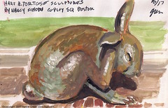 Hare sculpture Copley Square Boston watercolor sketch (Howie Green) Tags: nancy schon copley square boston rabbit hare sculpture watercolor sketch painting