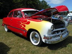 1949 Ford Tudor (splattergraphics) Tags: 1949 ford tudor customcar flames carshow litchfieldfirefightersassociation carrierickermiddleschool litchfieldme