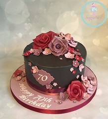 Ganache Roses 70th Cake