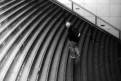 By counting the steps (pascalcolin1) Tags: paris homme man escaliers marches steps lu light noiretblanc blackandwithe photoderue streetview urbanarte photopascalcolin 50mm canon