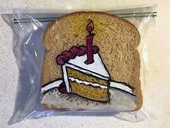 Slice of birthday cake (D Laferriere) Tags: yellow candle kritzels laferriere attleboro happy birthday cake sandwich bag art sharpie