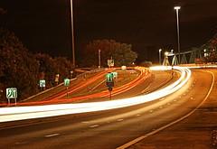 Light trails near Runcorn bridge (Colin__Murray) Tags: runcorn bridge lights lighttrails road night dark sky england uk