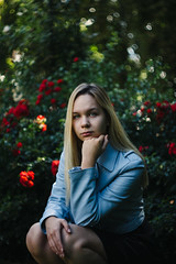 Straight in the eyes (maxencebrierre) Tags: canon portrait photo photographe photoshop park roses rose blond hair sister red french france filter face fashion f2 flower flowers day 60d model garden art maxgrey canon60d nature sunlight cheveux exposure grain green girl lightroom
