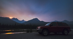 Moonset Ride (Bun Lee) Tags: canadianrockies landscape rockymountain rockymountains alberta beautiful bunlee bunleephotography canada clouds jaspernationalpark mountain mountains natural nature nightskies nightscapes scene scenic sky stars travel view water