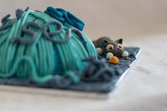 Cat and Yarn Cake (Pittypomm) Tags: birthday cake cat chocolate plastic fondant icing yarn ball wool wiggle wiggly blue turquoise purple orange decorated decoration celebration baking baked