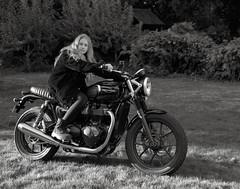 Hope, Brentwood Street, Portland (austin granger) Tags: daughter backyard home lawn triumph streettwin motorcycle boots film largeformat chamonix