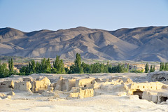 Ruines de Jiaohe à Tourfan, en Chine (Voyages Lambert) Tags: china colorimage desert green history jiaohe journey landscape landscaped mountain mountainrange oasis old oldruin peopletraveling traditionalculture travel tree turpan xinjiangprovince province