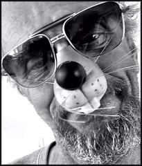 A Halloween hello (Bob R.L. Evans) Tags: humor mousenose seniorcitizen age unusual irreverent glasses ipadphotography blackandwhite graytones face beard nose
