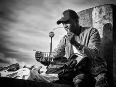 Paris - for sale (Andy J Newman) Tags: france olympus silverefex paris vendor street portrait towers eifel eiffel blackandwhite om monochrome candid paris7earrondissement îledefrance fr
