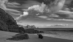 Last Touch of the Summer Sun B&W Dog (magpiedom) Tags: dog porthcurno beach sun sunny sunset blackandwhite bw cornwall uk england sea horizon ocean atlantic clouds boat tripod wideangle ultrawide ultrawideangle holiday tokina 1120mm tokina1120f28 nikond5300 cool goldenhour