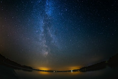 Milky way + shooting star (or satellite) (KariFinland) Tags: 5dmk2 15mm fisheye landscape milky way taipalsaari finland