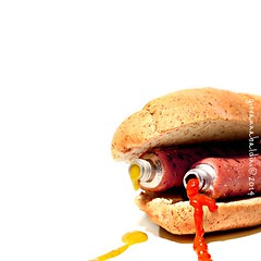 the ultimate hot dog (brescia, italy) (bloodybee) Tags: hotdog wurstel sausage ketchup mustard sauce bread roll food eat tube squeeze humor fun stilllife