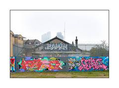 Street Art (Mowscodelico, Grim, 2Rise), East London, England. (Joseph O'Malley64) Tags: mowscodelico grim 2rise streetartists streetart urbanart publicart freeart graffiti eastlondon eastend london england uk britain british greatbritain art artists artistry artwork murals muralists writers wallmurals wall walls brickwork bricksmortar cement steelsecurityfencing securityspikes razorwire buddleia