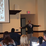 Dr. Kang-Na asks students a question during his faculty panel presentation.