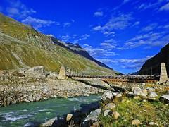 The bridge... (Lopamudra !) Tags: lopamudra lopamudrabarman lopa landscape lahul lahaul india himalaya himalayas highaltitude himachalpradesh himachal chandra river stream bridge valley vale mountain mountains hp