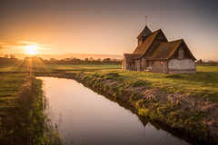St Thomas a Becket Church (Nathan J Hammonds) Tags: st thomas becket church kent romney marshes uk britain water long exposure nd filter 10stop bw nikon d750 2485mm sunset hdr colour sky reflection building landscape