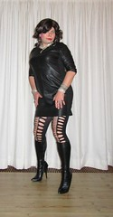 leather LBD and boots (Barb78ara) Tags: leather leatherlook dress leatherdress nylon pantyhose patternedpantyhose blacknylon boots tightboots highheels highheelboots stilettoheels stilettohighheels stilettoboots littledress littleblackdress lbd